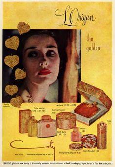 Coty's L'Origan Cosmetics – L'Origan the golden (1950)