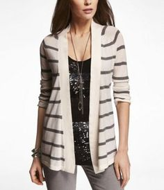 STRIPED ROLLED SLEEVE COVER-UP SWEATER at Express