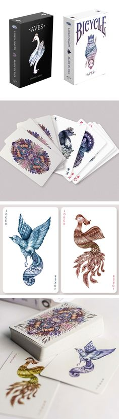 Hand-illustrated by Russian artist Karina Eibatova, the limited-run Aves deck was inspired by various species of birds from around the world and printed on the highest-quality Bicycle card stock. Each court card in this deck, is a work of art, featuring Eibatova's whimsical, delicate illustration. #colossal