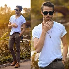White Plain Tshirt styled with Trousers and Shoes