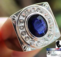 Men's Stunning!! 3.55 cts Genuine Blue Sapphire & W.Topaz Ring Solid 925 S#10 NR #Jewelryploysai #Gents
