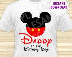 Mickey Mouse Dad of the Birthday Boy Iron On. Mickey Mouse Birthday Iron On Transfer. Mickey Mouse Birthday Shirt. DIGITAL FILE.
