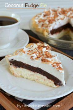 Coconut Fudge Pie #chocolates #sweet #yummy #delicious #food #chocolaterecipes #choco