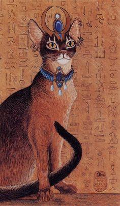 Egyptian Abysinnian Cat with Headdress Print of Original Painting