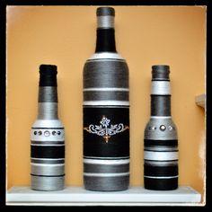 Decorated Bottles - Black & Grey Set                                                                                                                                                     Mais