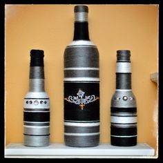 Decorated Bottles - Black & Grey Set