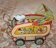 Vintage Tin Friction Toy Baby Carriage Baby Dog Sankei Made in Japan