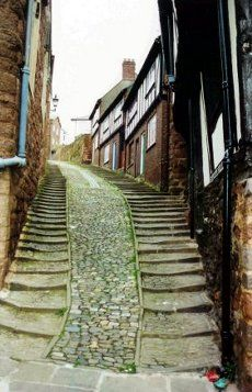 Stepcote, Exeter, Devon - This street is one of the oldest surviving parts of Exeter, located in the West Quarter. Its name comes from the Old English word for steep. The hill has been used as the main route into Exeter from the river since Roman times.