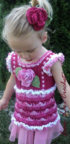 Cotton Candy Rose, Little Girl's beautiful Crochet Tank Top with Ruffle Sleeves and Rose Hair Accessory. $28.00, via Etsy.