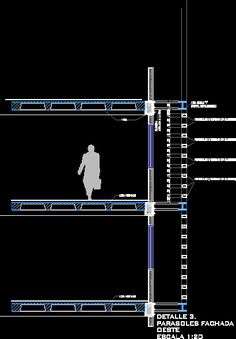 Detalle parasoles en corte, en Parasoles celosías y toldos - Aberturas Autocad, Civil Construction, Steel Frame House, Diagram Design, Strip Mall, Contemporary Building, Architectural Section, Parasol, Detailed Drawings