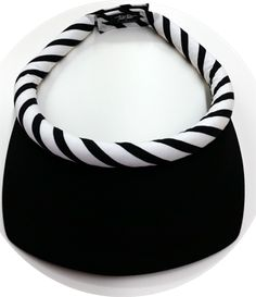 Square Black Brim (small flaw on brim) w/Black & White Stripe Band & Velcro Closure October Sun, Black White Stripes, Black And White, Visors, Amazing Women, Flaws, Closure, Band, Bracelets