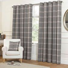 Highland Tartan Plaid Check Curtains with Ring Top Eyelets in Grey & Cream Dunelm km