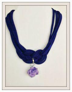 Riuso Creativo: girocollo con nodo celtico e pendente a forma di rosellina. - Celtic knot collier with purple pendant