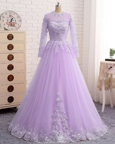 New Arrival Purple Beaded Long Prom Dress With Long Sleeve Lace Appliqued A Line Women Party Gowns , on Luulla Indian Gowns Dresses, Modest Dresses, Trendy Dresses, Bridal Dresses, Nice Dresses, Bridesmaid Dresses, Dress Prom, Formal Evening Dresses, Formal Prom