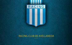 Descargar fondos de pantalla Racing Club de Avellaneda, 4k, logotipo, Argentina, textura de cuero, fútbol, fútbol Argentino club de Avellaneda FC, el emblema, la Superliga, Argentina Campeonatos de Fútbol, Primera División