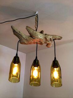 Wine Bottles Driftwood Hanging Light by PMGlassArt on Etsy, $130.00