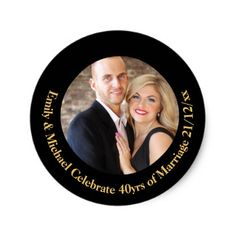 #40th PHOTO Wedding Anniversary Black Gold Marble Classic Round Sticker - #wedding gifts #marriage love couples