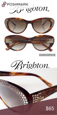New Brighton Sea Cruise Tortoise Sunglasses New with tags, These Chic Brighton handmade Tortoise sunglasses are Embellished with shades of topaz Crystals. Lenses have 100% UVA/UVB protection and are optical ready. Brighton Accessories Sunglasses