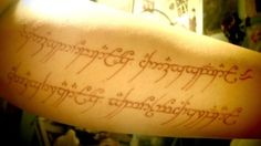 "Elvish tattoo ""One ring to rule them all, one ring to find them. One ring to bring them all and in the darkness bind them"", the text on the One Ring. The Hobbit and Lord of the Rings Sexy Tattoos, Cute Tattoos, Body Art Tattoos, Small Tattoos, Tatoos, First Tattoo, Tattoo You, Tattoo Quotes, Incredible Tattoos"