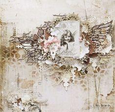 """Olya Kravets: Layout """"Little Angel"""" for 49 and Market Scrapbook Blog, Vintage Scrapbook, Baby Scrapbook, Scrapbook Pages, Scrapbook Background, Mixed Media Scrapbooking, Scrapbooking Layouts, Heritage Scrapbooking, Paper Art"""