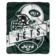 New York Jets NFL Royal Plush Raschel Blanket (Grand Stand Raschel) (50in x 60in)