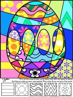 Easter Activities: Pop Art Interactive and Pattern-filled Coloring Sheets. Have some real fun this Easter with my Easter Pop Art coloring sheets. Students add bold patterns to different Easter symbols and then color their designs to produce a Pop Art-styled Easter picture!Now included are 4 pattern filled designs and writing prompts (I have not increased the price) This is fun, easy and unique.