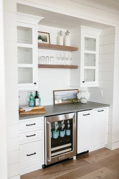 Lake House New Construction - Farmhouse - Home Bar - Detroit - by Leighanne LaMarre Interiors Kitchen Bar, Home Bar Cabinet, Built In Bar Cabinet, Kitchen Remodel, Coffee Bars In Kitchen, Bars For Home, Basement Living Rooms, Kitchen Wet Bar, Kitchen Renovation