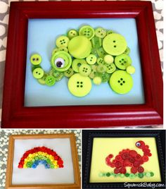 DIY Button Animals - how cute is this?  Great gift from grandkids to grandparents!