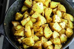 Skillet potatoes prepared Middle Eastern-style w/ garlic, warm spices, fresh herbs & a splash of lime juice! Middle East Salad Recipe, Spicy Potato Salad Recipe, Potato Recipes, Tasty Vegetarian Recipes, Healthy Recipes, Kurdish Food, How To Cook Potatoes, Lebanese Recipes, Mediterranean Dishes