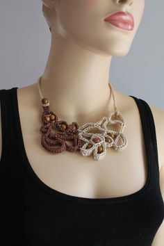 Off White Brown Freeform Crochet Necklace di lucylev su Etsy, $31.00