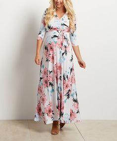 Look at this #zulilyfind! PinkBlush White Floral Wrap Maternity/Nursing Maxi Dress #zulilyfinds