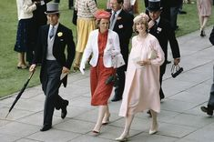 June 15, 1982: Prince Charles  Princess Diana with her lady-in-waiting in the Royal enclosure at Royal Ascot.