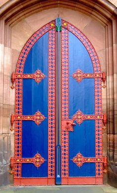 Looks like a colorful door from a knight's castel. Marburg, Hessen, Germany.