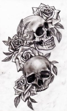 skull and flower tattoo designs | Skull and roses by Slabzzz