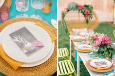 Tropical Brights Wedding Inspiration   SouthBound Bride   Tropical Wedding Decor   Tropical Wedding   Wedding Reception