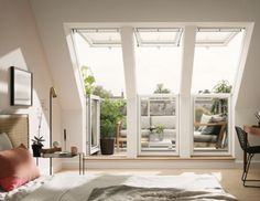 Read More This VELUX roof terrace window system opens to the left-hand side with a two-window triple glazed configuration. The wide x high VELUX roof terrace is designed to allow… Loft Room, Bedroom Loft, Attic Rooms, Attic Spaces, Roof Balcony, Balcony Flooring, Attic Conversion, Loft Conversions, Roof Window