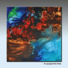 Painting  BREAKING WAVES Original Contemporary by BrieWest
