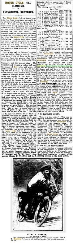1912 Rova Kent 3.5 h.p. four-valve South Australian Hill Climb Results Fri 15 Mar 1913