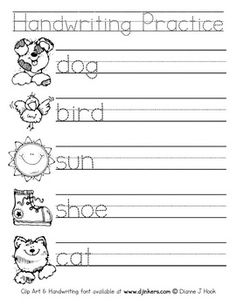 This super-cute worksheet will make kids want to practice their handwriting!  Includes 5 words for kids to trace & then write on their own, with coordinating clip art images for kids to color too!  (Words include: dog, bird, sun, shoe, cat).