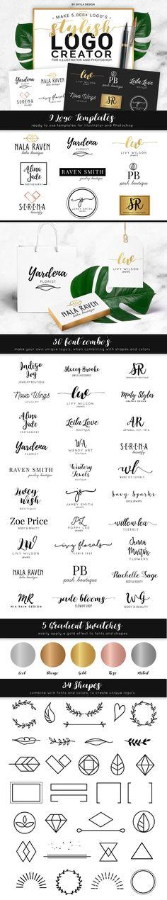Stylish Logo Creator Kit AI + PS by skyladesign on @creativemarket
