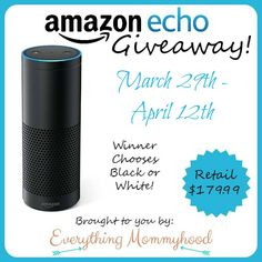 Today I have an amazing giveaway for anyone who has been drooling over the new Amazon Echo. It's an awesome piece of technology that can turn your home into a smart home! It uses the Alexa Voice Service to answer questions, read the news, order you a pizza, adjust your thermostat, or play your favorite tunes. *Win an Amazon Echo (ARV $179.99!) to Make Your House a Smarthome!* US residents only, 18+, Ends 4/12.