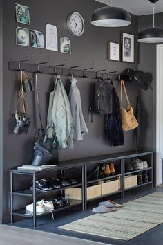 Mudroom with charcoal grey cupboards that includes brass pulls furnished with a Hallway Storage, Storage Spaces, Shoe Storage, Grey Cupboards, Flur Design, Diy Home Decor, Room Decor, Hallway Inspiration, Mudroom