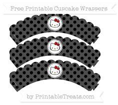 Free Black Polka Dot  Hello Kitty Scalloped Cupcake Wrappers