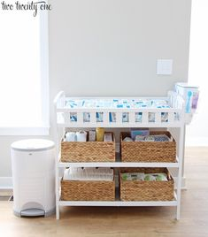 Changing Table Organization Tips and tricks for organizing a changing table! Must have items needed for a changing table, tips on how to fold and arrange baby things, and more! Changing Table Organization, Baby Nursery Organization, Baby Changing Station, Baby Changing Tables, Baby Boy Rooms, Baby Room, Kids Rooms, Baby Decor, Girl Nursery