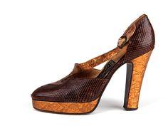 1970s | Fiorucci, high heel platform reptile leather shoes.