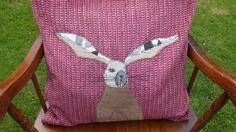 Stunning Handmade Applique Fetaher Cushion with Hare Rabbit Design £55.00