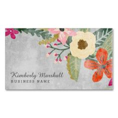 71 best business cards florist images on pinterest business card painted florals business card pink gray wajeb Images