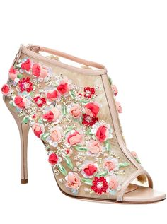 "Manolo Blahnik Spring 2016 ""Clizia"" mesh floral booties."