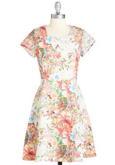 Spring Sensation Dress - Mid-length, Woven, Lace, Multi, Floral, Print, Casual, A-line, Short Sleeves, Spring, Buttons, Cutout