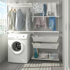 Laundry Shelves, Laundry Cabinets, Laundry Room Storage, Laundry Room Design, Ikea Utility Room, Laundry Rack, Cabinet Shelving, Wire Shelving, Garage Laundry Rooms